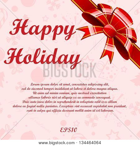 Holiday red background with strippes and bow