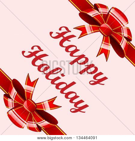 Set of a gift striped ribbons with red bows