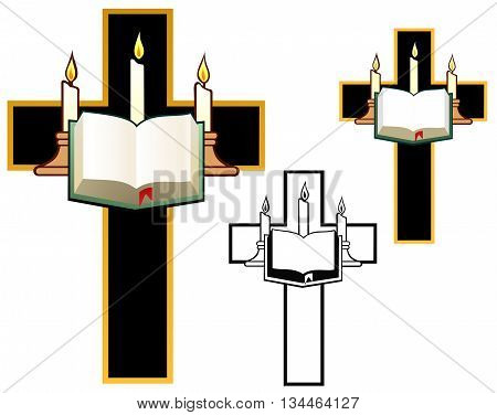Cross with three candles and a thick book