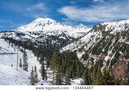 Road To Mount Rainier Summit Covered By Snow, Washington,  Usa