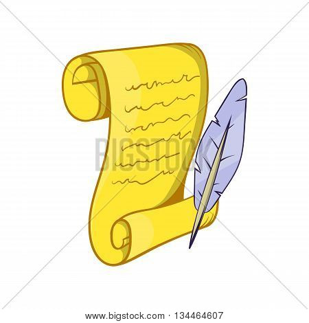 Old paper scroll and feather icon in cartoon style on a white background