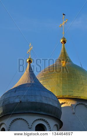 Architecture landscape - closeup of Saint Sophia Cathedral in Veliky Novgorod Russia. The oldest Orthodox church building in Russia closeup architecture view with sculptural architecture details
