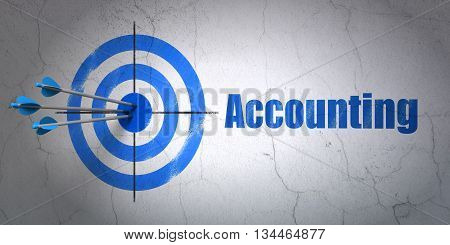 Success money concept: arrows hitting the center of target, Blue Accounting on wall background, 3D rendering