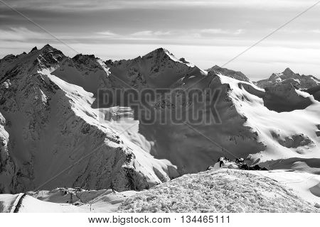 Black And White Snowy Off-piste Slopes At Evening