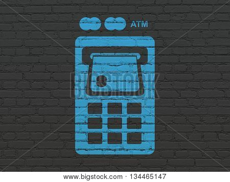 Currency concept: Painted blue ATM Machine icon on Black Brick wall background