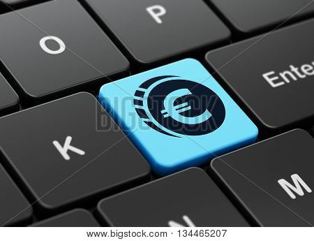 Currency concept: computer keyboard with Euro Coin icon on enter button background, 3D rendering