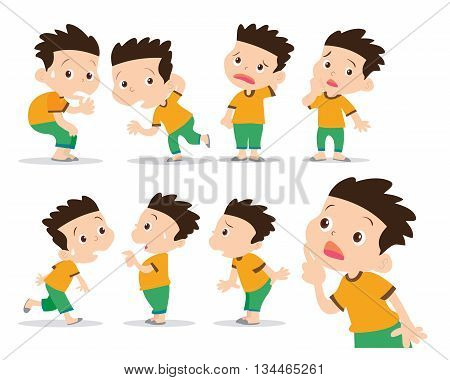 illustrator of boy have wonder and confused actions set