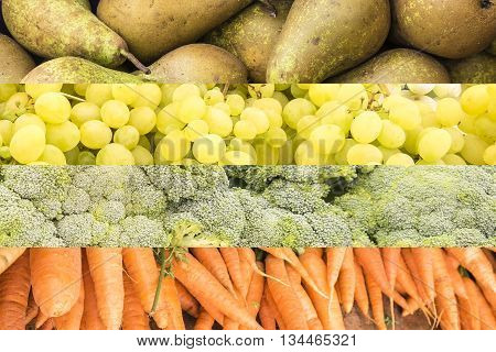group of fruits and vegetables: grapes, pears, carrots and broccoli