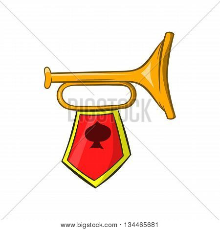Golden trumpet with a red flag icon in cartoon style on a white background