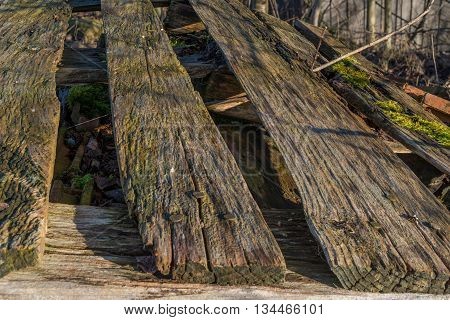 Closeup of a weathered wood palette outdoor