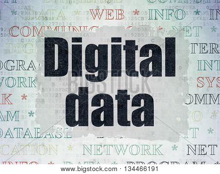Information concept: Painted black text Digital Data on Digital Data Paper background with   Tag Cloud