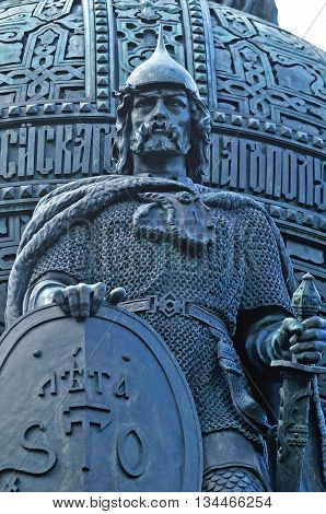 VELIKY NOVGOROD RUSSIA - JUNE 14 2016.Sculptural group Calling Vikings to Russia with the sculpture of the first prince Rurik at the monument Millennium of Russia