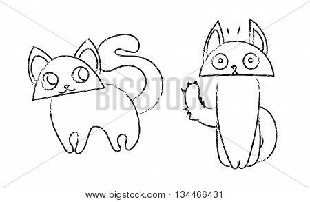 cute funny cats cartoon vector lineart drawing.