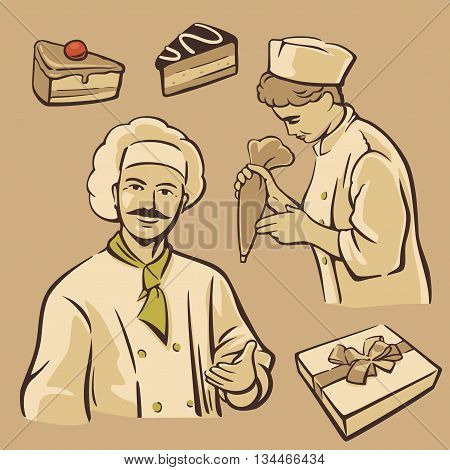 Cook and piece of Cake. Set vintage vector symbols and icon.