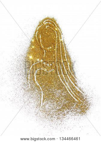 Beautiful silhouette of a girl in a dress and with long hair of golden glitter