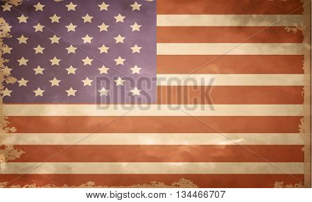 grunge flag of USA in color vector illustration