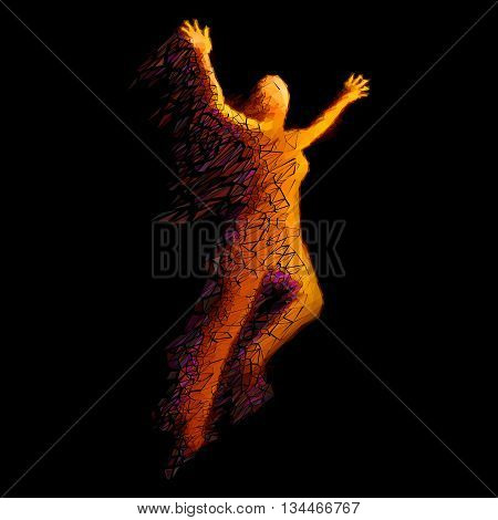 Jumping Woman From Color Triangles on Black Background