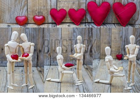 Three images of a man asking for marriage and declaring his love for a woman under a group of hearts
