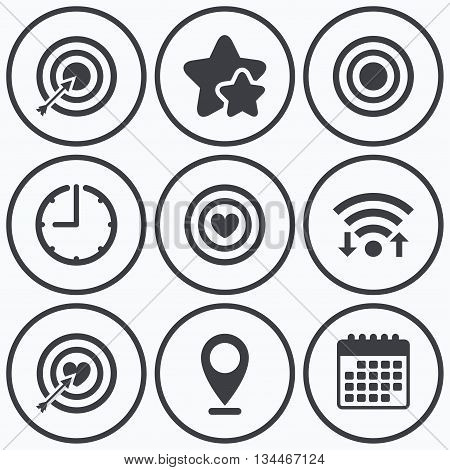 Clock, wifi and stars icons. Target aim icons. Darts board with heart and arrow signs symbols. Calendar symbol.