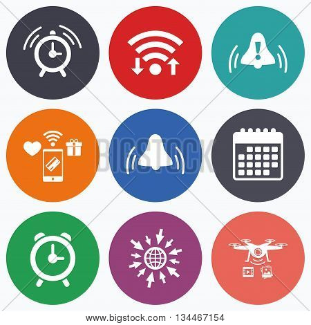 Wifi, mobile payments and drones icons. Alarm clock icons. Wake up bell signs symbols. Exclamation mark. Calendar symbol.