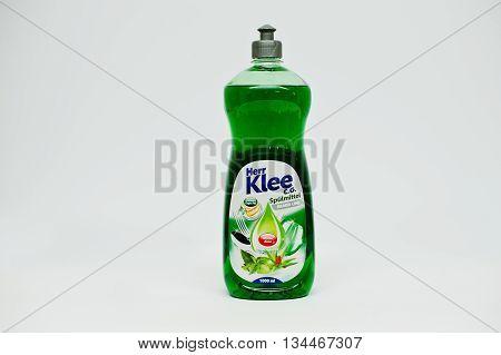 Berezovitsa, Ukraine - Circa June, 2016: Dishwasher Detergents And Gel Bottle Her Klee