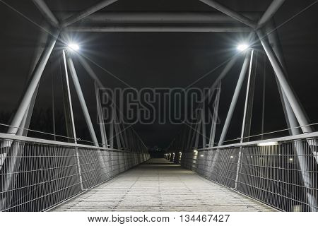 Night shot of a bridge in Regensburg, Bavaria, Germany
