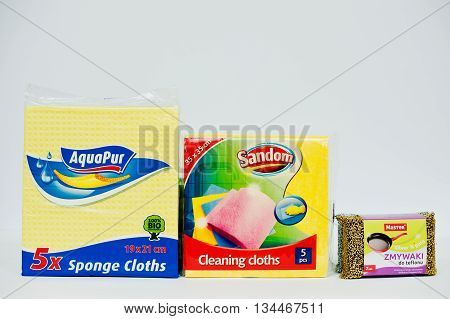 Berezovitsa, Ukraine - Circa June, 2016: Set Of Sponges Cloths And Cleaning For Washing Dishes Aquap