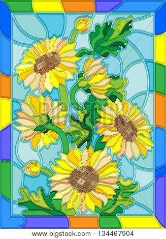 Illustration in stained glass style with flowers buds and leaves of sunflowers