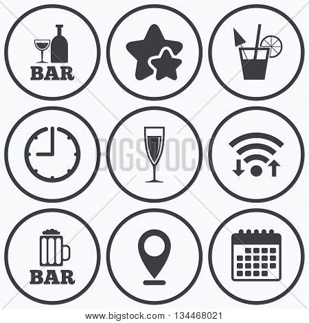 Clock, wifi and stars icons. Bar or Pub icons. Glass of beer and champagne signs. Alcohol drinks and cocktail symbols. Calendar symbol.