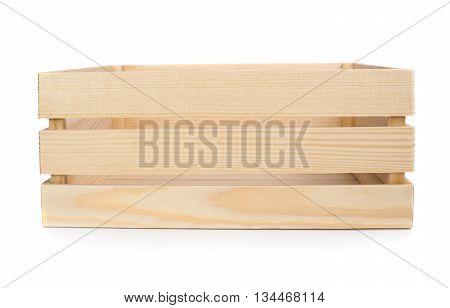 Large wooden crate isolated on white background - Front and top view