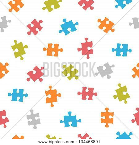 Seamless vector multicolored pattern - puzzle on white background