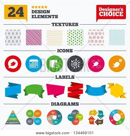 Banner tags, stickers and chart graph. Birds icons. Social media speech bubble. Chat bubble with three dots symbol. Linear patterns and textures.