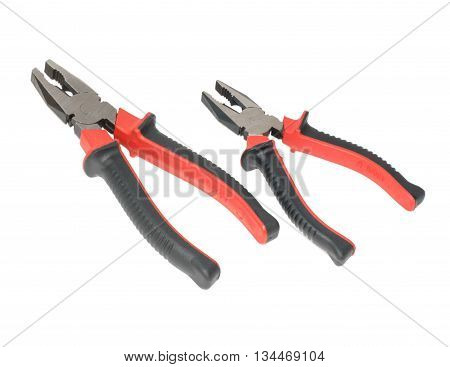 Two Red And Black Pliers Isolated
