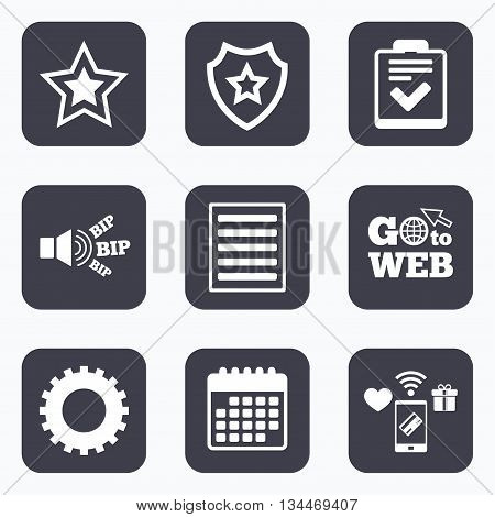 Mobile payments, wifi and calendar icons. Star favorite and menu list icons. Checklist and cogwheel gear sign symbols. Go to web symbol.
