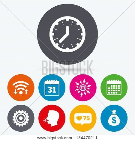 Wifi, like counter and calendar icons. Business icons. Calendar and mechanical clock signs. Dollar money bag and gear symbols. Human talk, go to web.