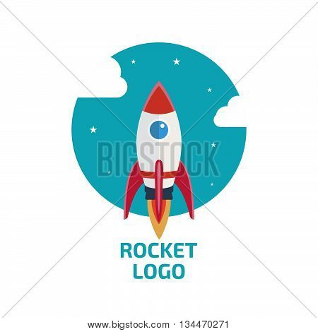 Rocket logo, icon. Stock vector. Vector illustration.