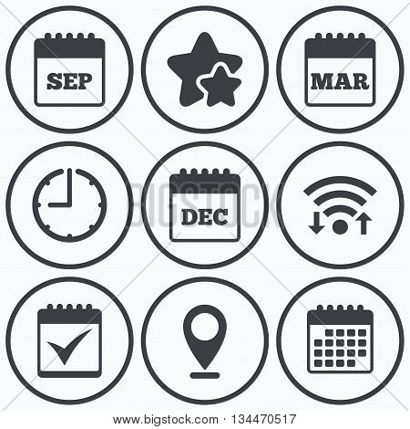 Clock, wifi and stars icons. Calendar icons. September, March and December month symbols. Check or Tick sign. Date or event reminder. Calendar symbol.
