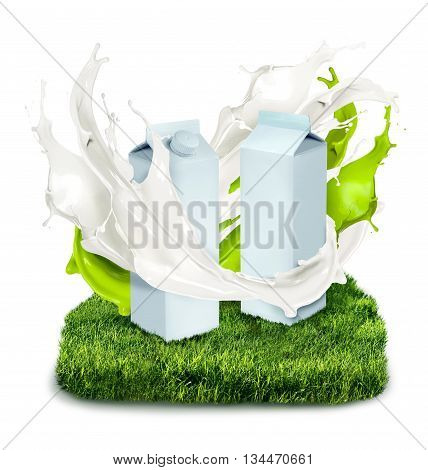 Fresh milk cans with white and green splash on grass