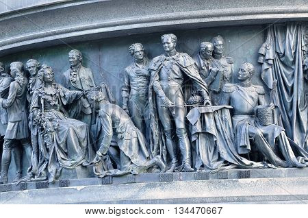 VELIKY NOVGOROD RUSSIA - JUNE 14 2016. Sculptural group Statesmen at the monument Millennium of Russia - sculptures of Catherine the Great Alexander I Nicholas I and diplomats of their times