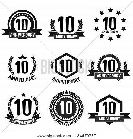 Anniversary 10 set logo. Stock vector. Vector illustration.