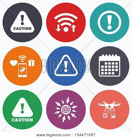 Wifi, mobile payments and drones icons. Attention caution icons. Hazard warning symbols. Exclamation sign. Calendar symbol.