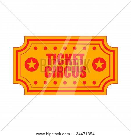 Circus show paper tickets icon in cartoon style on a white background