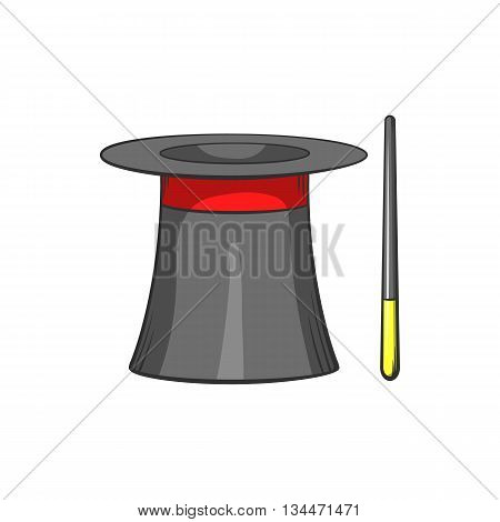 Magic hat and wand icon in cartoon style on a white background