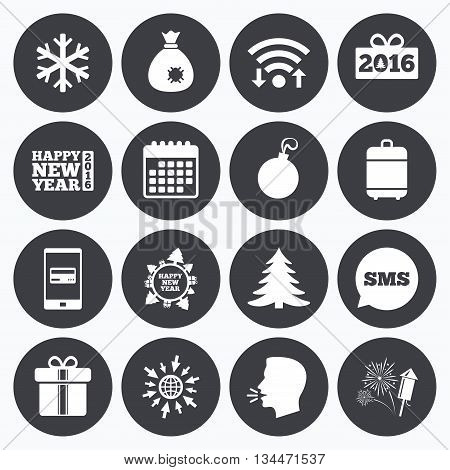 Wifi, calendar and mobile payments. Christmas, new year icons. Gift box, fireworks and snowflake signs. Santa bag, salut and decoration ball symbols. Sms speech bubble, go to web symbols.