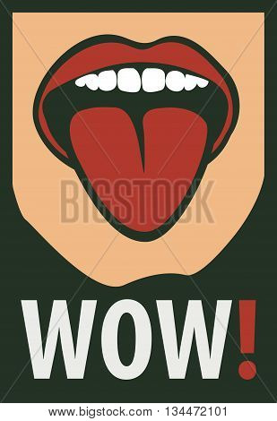 vector drawing of the Women mouth with his tongue hanging out screaming wow