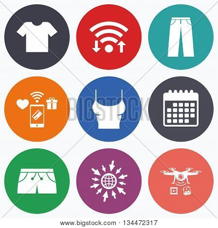 Wifi, mobile payments and drones icons. Clothes icons. T-shirt and pants with shorts signs. Swimming trunks symbol. Calendar symbol.