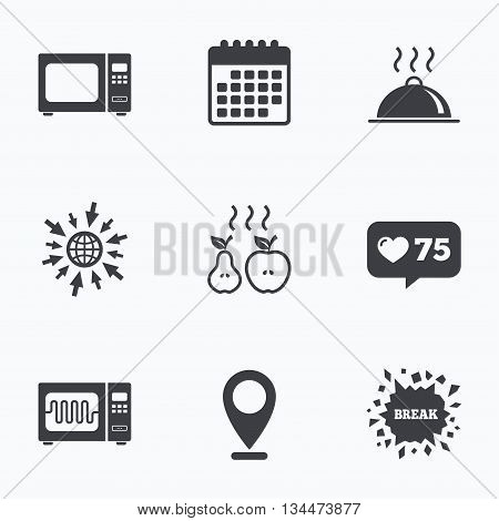 Calendar, like counter and go to web icons. Microwave grill oven icons. Cooking apple and pear signs. Food platter serving symbol. Location pointer.