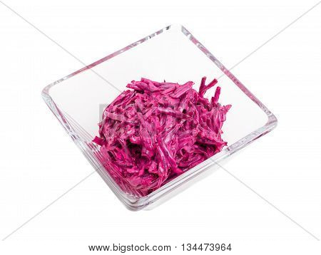 Grated beetroot with mayonnaise. Isolated on a white background.