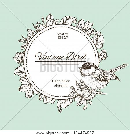 wreath with flowers and bird. Vector vintage round frame with birds and flowers. Floral wreath. Black and white. Fit for wedding card invitation greetings.