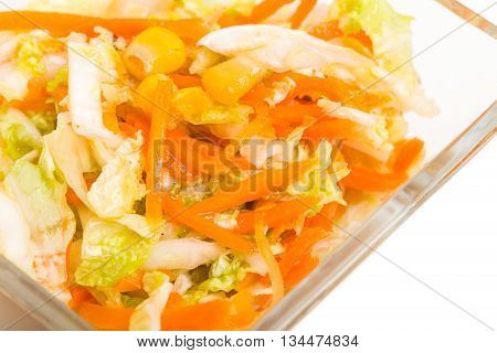 Fresh coleslaw salad with corn. Macro. Photo can be used as a whole background.